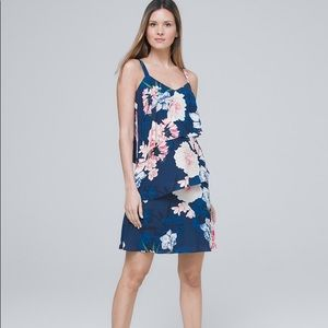 WHBM tiered ruffle floral shift dress